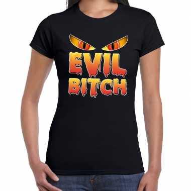 Verkleedkleding halloween evil bitch verkleed t shirt zwart dames tip