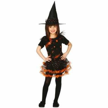 Verkleedkleding  Halloween Oranje heksen jurk kind tip