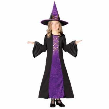 Verkleedkleding  Halloween Paarse heksen jurk kind tip