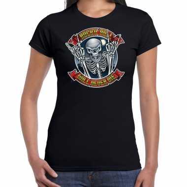 Verkleedkleding halloween rock roll skelet verkleed t shirt zwart dames tip