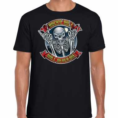 Verkleedkleding halloween rock roll skelet verkleed t shirt zwart heren tip