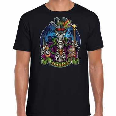 Verkleedkleding halloween voodoo skelet verkleed t shirt zwart heren tip