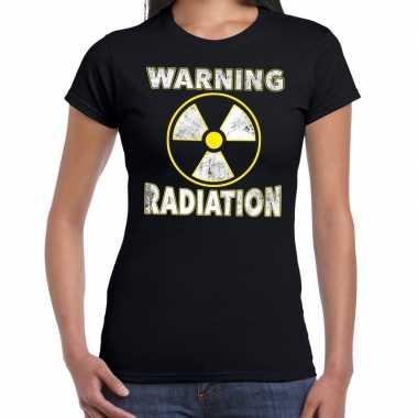 Verkleedkleding halloween warning radiation verkleed t shirt zwart da