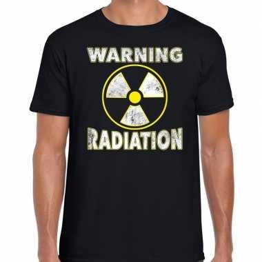 Verkleedkleding halloween warning radiation verkleed t shirt zwart he