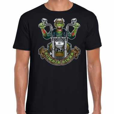 Verkleedkleding halloween zombie biker verkleed t shirt zwart heren tip