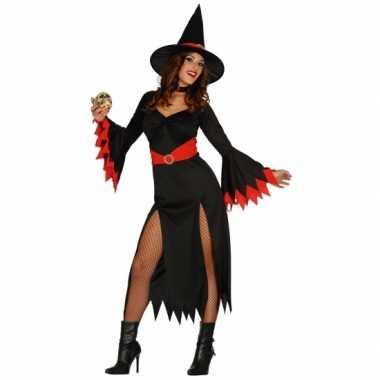 Verkleedkleding  Halloween Zwarte lange heksen jurk rode details tip
