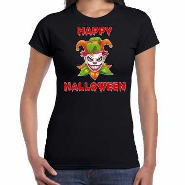 Verkleedkleding happy halloween groene horror joker verkleed t shirt zwart dames tip