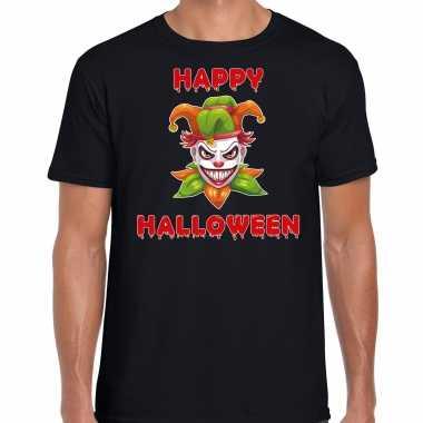 Verkleedkleding happy halloween groene horror joker verkleed t shirt zwart heren tip
