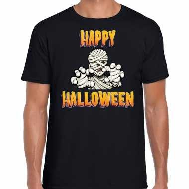 Verkleedkleding happy halloween horror mummie verkleed t shirt zwart heren tip