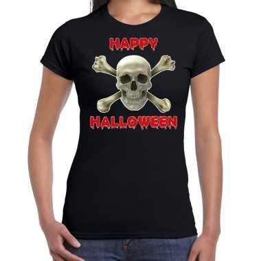 Verkleedkleding happy halloween horror schedel verkleed t shirt zwart dames tip