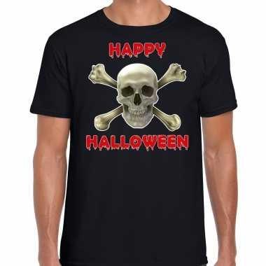 Verkleedkleding happy halloween horror schedel verkleed t shirt zwart heren tip