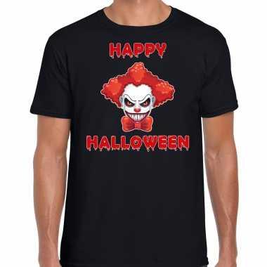 Verkleedkleding happy halloween rode horror clown verkleed t shirt zwart heren tip