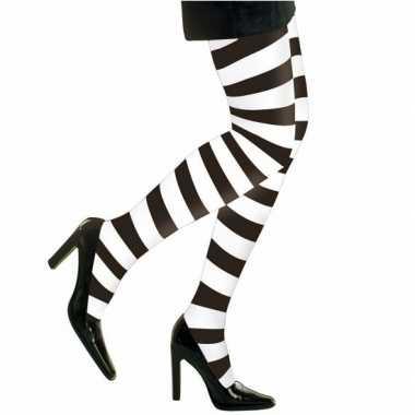 Verkleedkleding heksen verkleedaccessoires panty maillot zwart/wit da