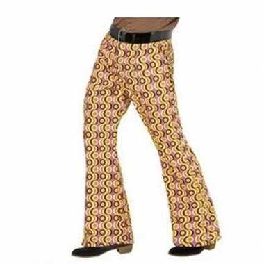 Verkleedkleding heren hippie broek retro print maat xxl tip