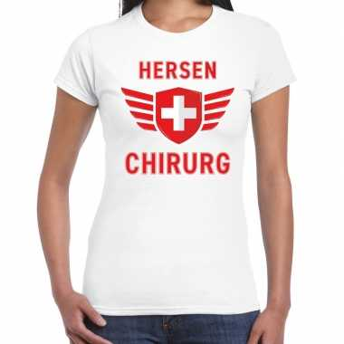 Verkleedkleding hersen chirurg verkleed t shirt wit dames tip