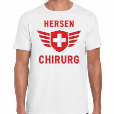 Verkleedkleding hersen chirurg verkleed t shirt wit heren tip