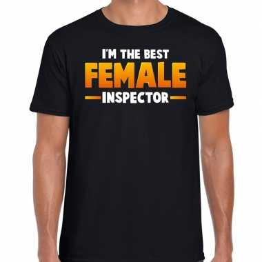 Verkleedkleding im the best female inspector t shirt zwart heren tip