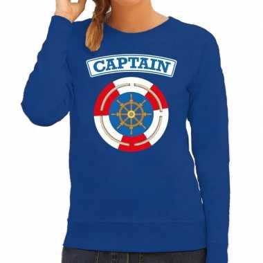 Verkleedkleding kapitein/captain verkleed sweater blauw dames tip