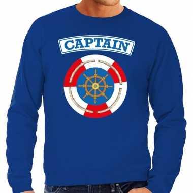 Verkleedkleding kapitein/captain verkleed sweater blauw heren tip