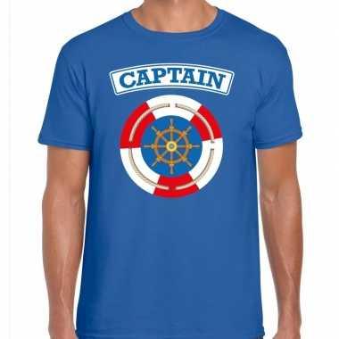 Verkleedkleding kapitein/captain verkleed t shirt blauw heren tip
