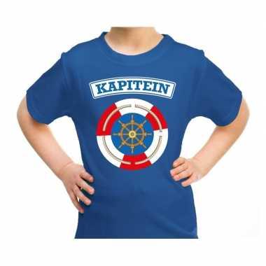 Verkleedkleding kapitein verkleed t shirt blauw kind tip