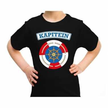 Verkleedkleding kapitein verkleed t shirt zwart kind tip