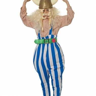 Verkleedkleding  Kind blauw witte viking broek tip