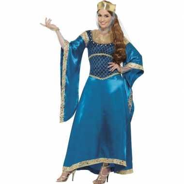 Verkleedkleding  Lange blauwe verkleed jurk dames tip