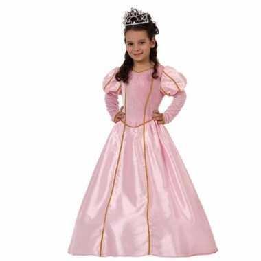 Verkleedkleding lange roze prinsessenjurk meisjes tip