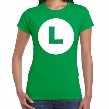Verkleedkleding luigi loodgieter verkleed t shirt groen dames tip
