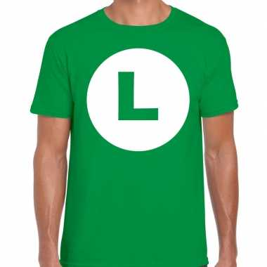 Verkleedkleding luigi loodgieter verkleed t shirt groen heren tip