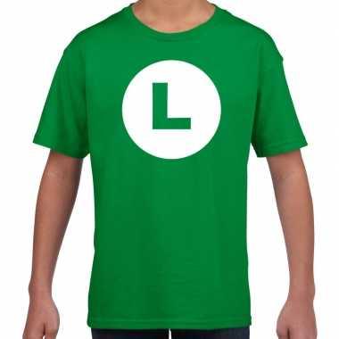Verkleedkleding luigi loodgieter verkleed t shirt groen kind tip