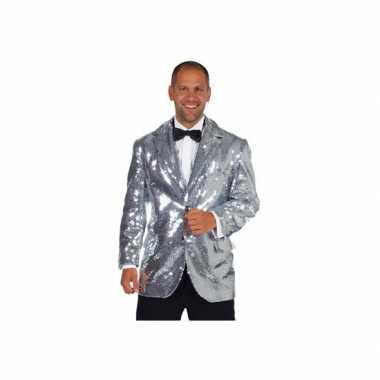 Verkleedkleding  Luxe zilveren colberts heren tip