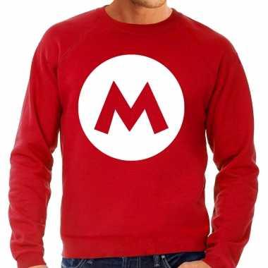 Verkleedkleding mario loodgieter verkleed sweater rood heren tip