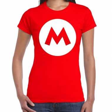 Verkleedkleding mario loodgieter verkleed t shirt rood dames tip