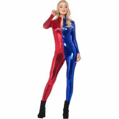Verkleedkleding metallic catsuit rood/blauw dames tip