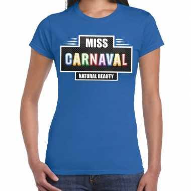 Verkleedkleding miss carnaval verkleed t shirt blauw dames tip