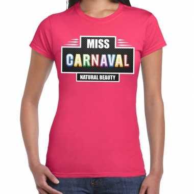 Verkleedkleding miss carnaval verkleed t shirt fuchsia roze dames tip