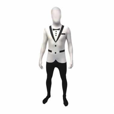 Verkleedkleding  Morphsuit witte smoking opdruk tip
