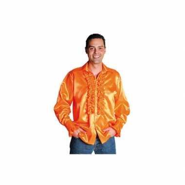 Verkleedkleding  Oranje glimmende blouse tip