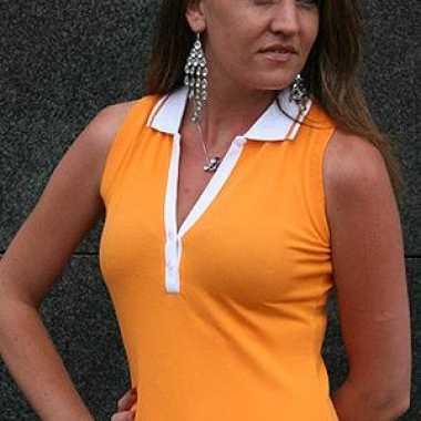 Verkleedkleding  Oranje mouwloos dames shirt tip