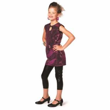 Verkleedkleding  Paars pailletten jurkje meisjes tip