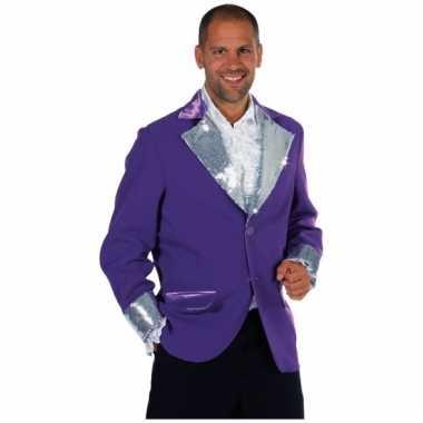 Verkleedkleding  Paars/ zilver bling bling jas heren tip