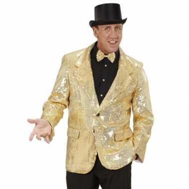 Verkleedkleding  Pailletten colbert goud tip
