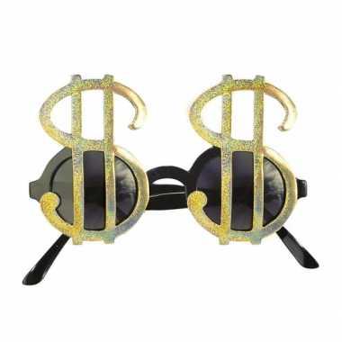 Verkleedkleding  Pimp brillen dollar goud tip