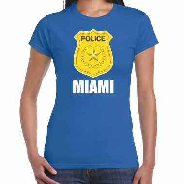 Verkleedkleding police / politie embleem miami verkleed t shirt blauw dames tip