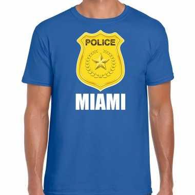 Verkleedkleding police / politie embleem miami verkleed t shirt blauw heren tip