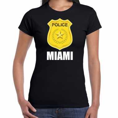Verkleedkleding police / politie embleem miami verkleed t shirt zwart dames tip