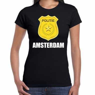 Verkleedkleding politie embleem amsterdam carnaval verkleed t shirt zwart dames tip