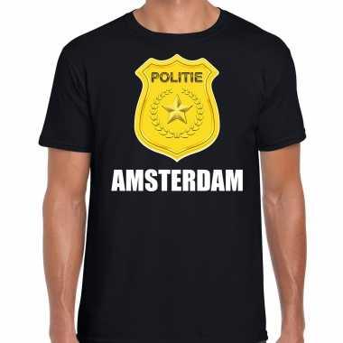 Verkleedkleding politie embleem amsterdam carnaval verkleed t shirt zwart heren tip